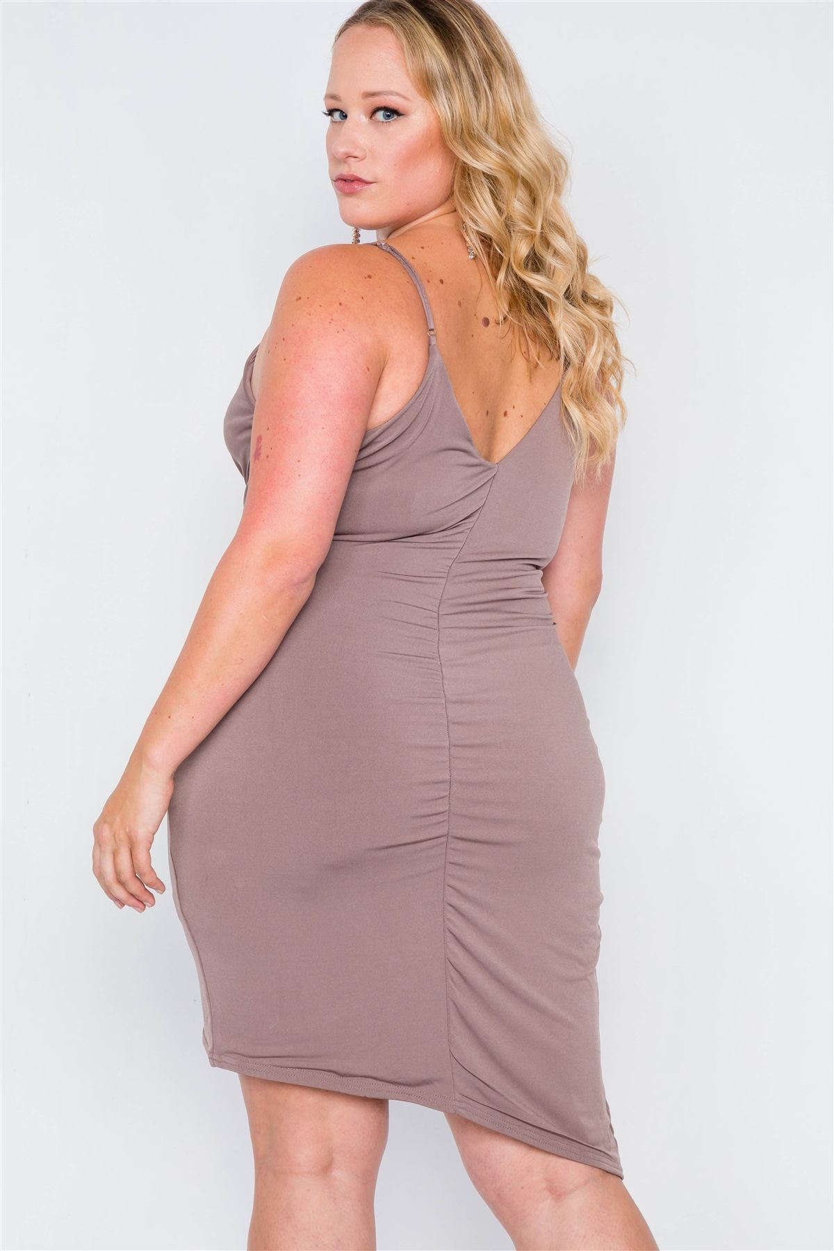 Plus Size Mocha Tulip-hem Evening Dress
