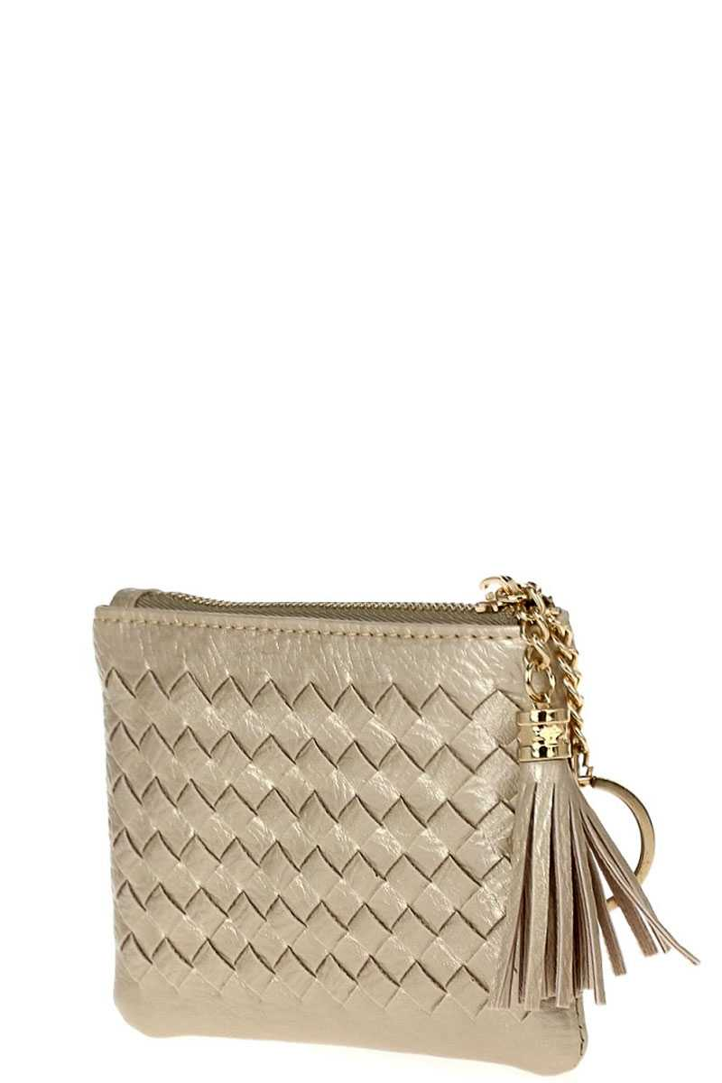 Cute Braided Zip Top Coin Key Wallet