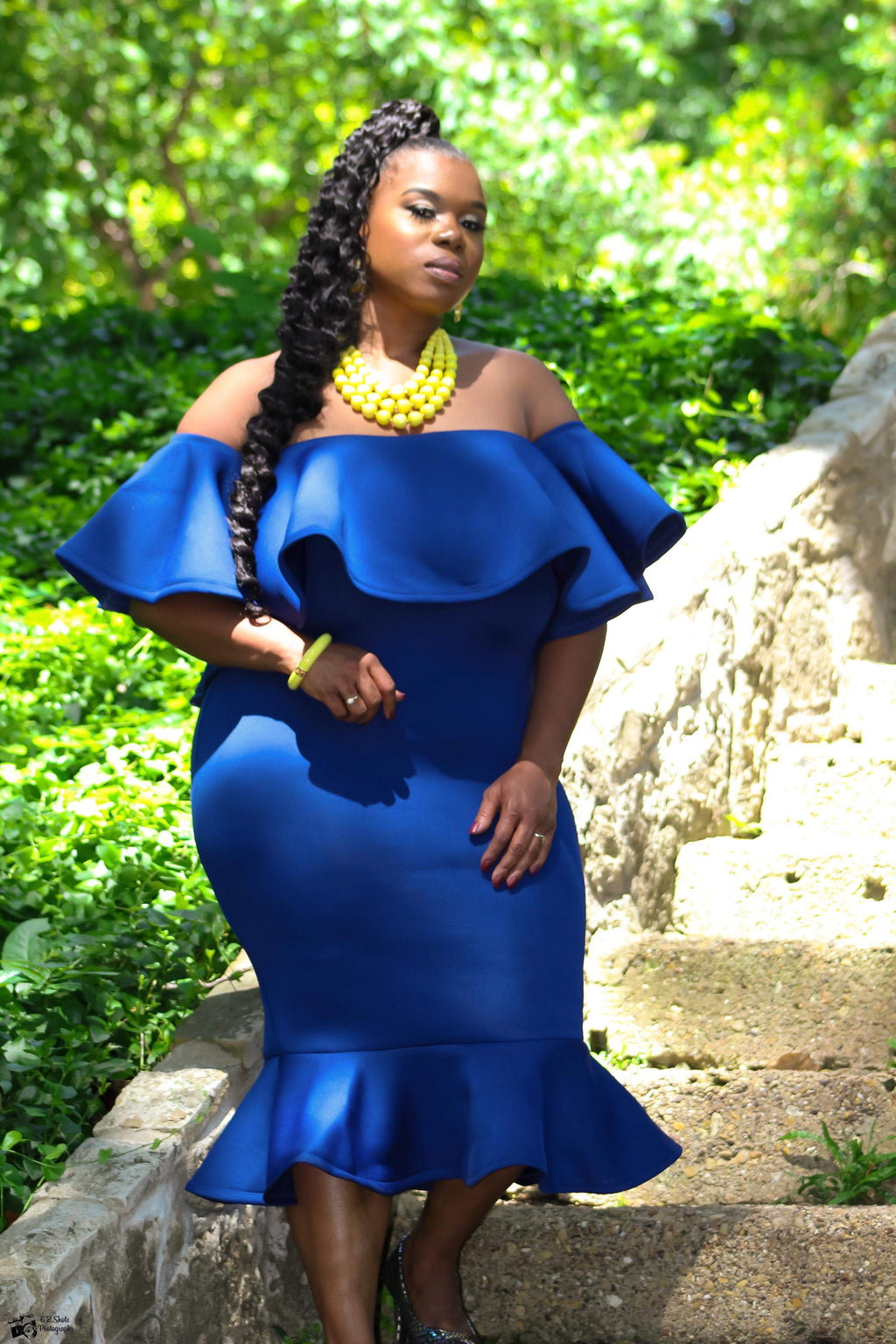 Royal blue body con dress