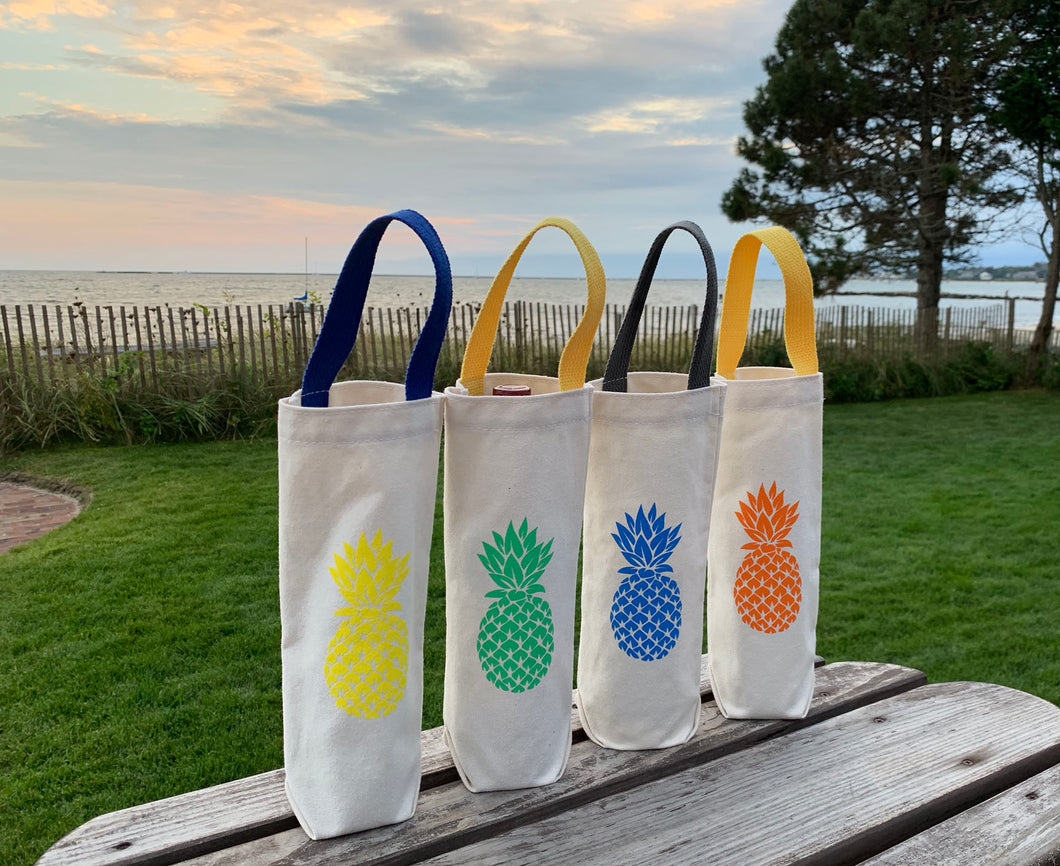 Four Wine Gift Bags- Green, Yellow, Blue and Orange