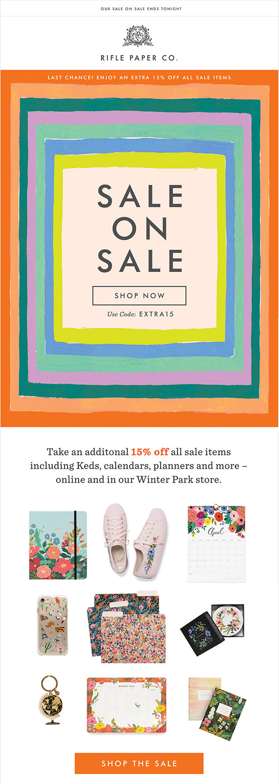 rifle paper co good email marketing example
