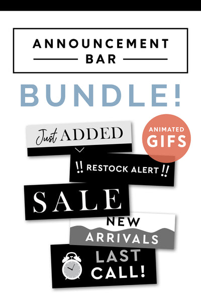 Email Announcement Bar Bundle - Black and White