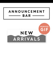 """New Arrivals"" Email Announcement Bar - Black and White"