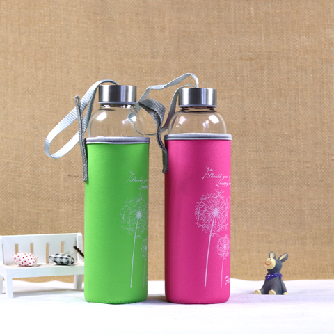 Glass Sports Water Bottle With Protective Bag