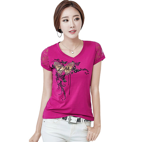 T Shirt Women Lace Short Sleeve
