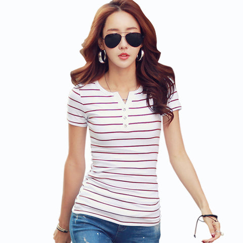 T Shirt femme 2018 Summer Striped