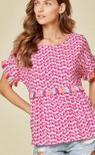 Load image into Gallery viewer, Pink Tassel Top