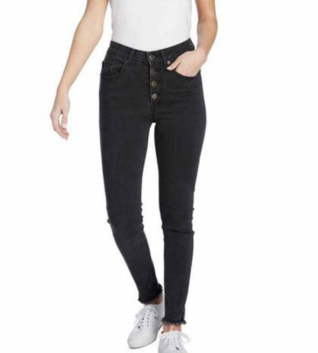 Black Wells Button Fly Jeans
