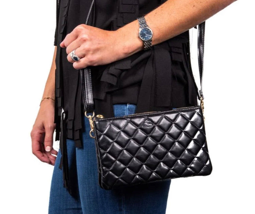 Carson Crossbody-Black Quilted