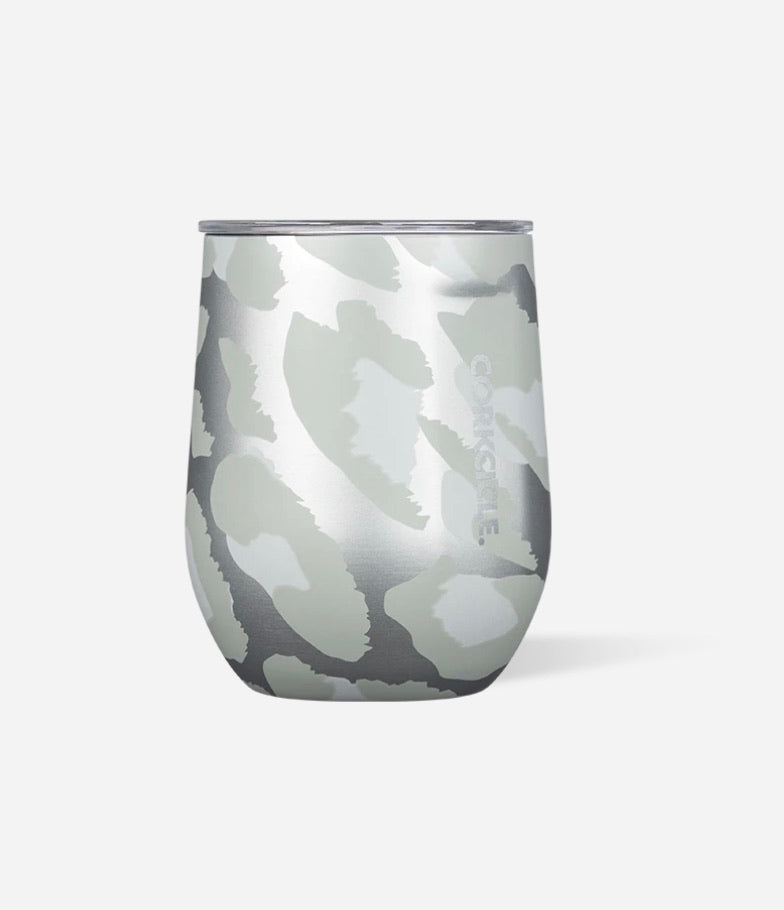 Stemless Wine Cup - Snow Leopard