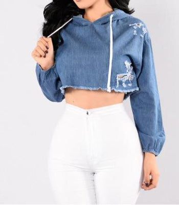 Denim Crop Top Slim Lengan Panjang Berkerudung - dirtprice