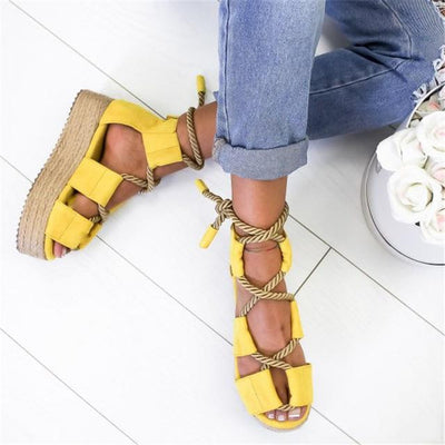 Multi-Color Rope Tie Heel Sandals