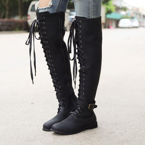 Lace up Thigh High Boots - dirtprice