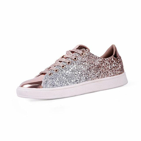 Casual Flat lace-Up Bling Glitter - dirtprice