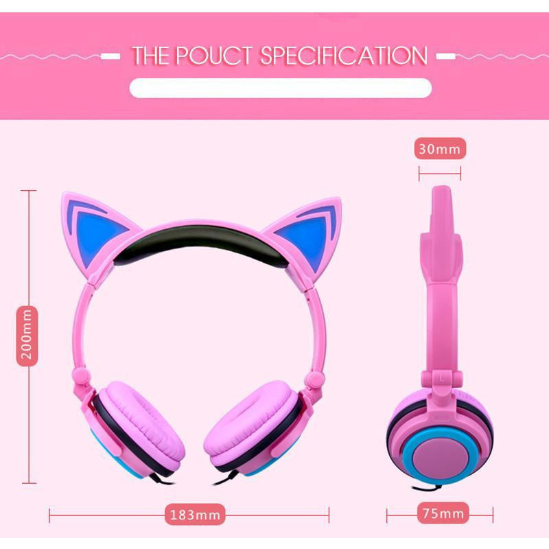 TOPROAD Foldable Flashing Glowing Cat Ear headphones - dirtprice