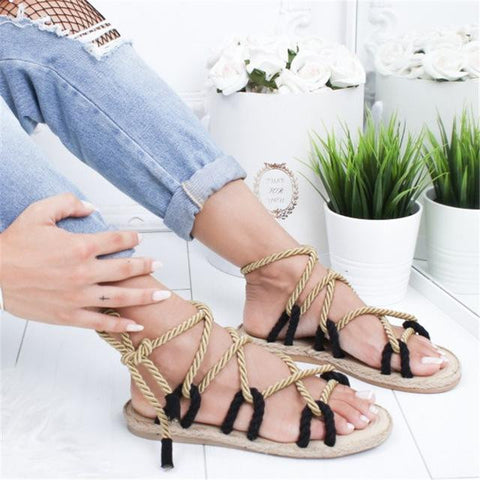 Hemp Rope Lace Up Sandals - dirtprice