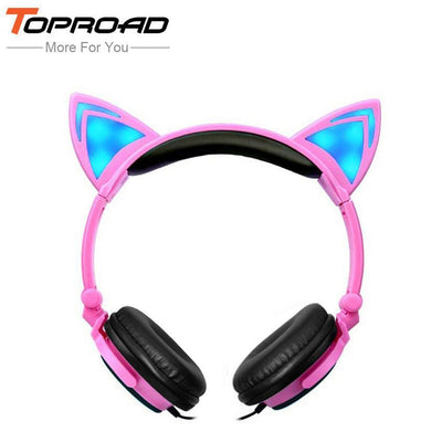 TOPROAD Foldable Flashing Glowing Cat Ear headphones