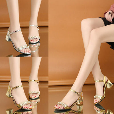 Potae Belt Buckle Rhinestone Sandals