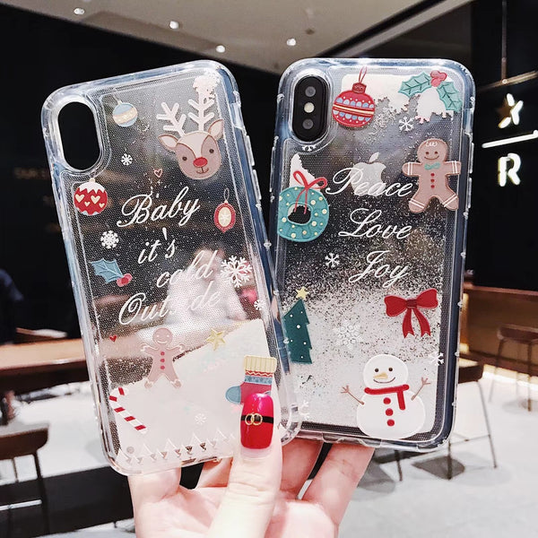 Christmas Fashion Liquid Glitter Phone Cases For iphone 6 6s 5 S SE 7 8 Plus X XR XS Max - dirtprice
