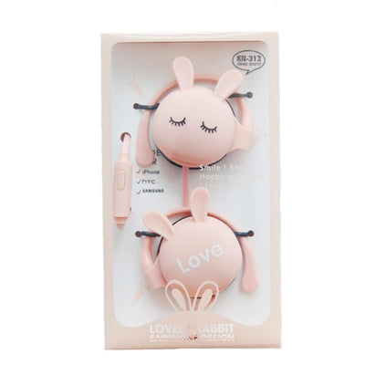 QearFun Kartun Kelinci Ear Hook Earphone Kabel