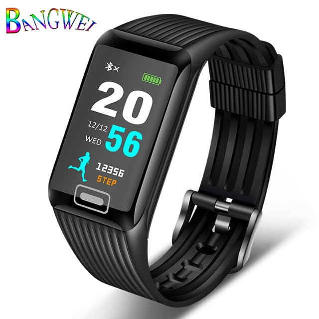 Watches Bangwei 2019 New Smart Sports Watch Heart Rate Sleep Monitoring Pedometer Led Color Screen Digital Smart Watch+box Digital Watches