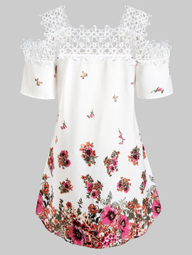 Floral Print Open Lace Tuni Style Top - 14 - 24W