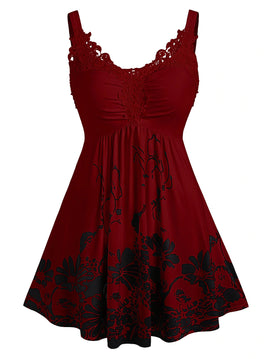 Plus Size Red Floral Print Lace Long Tank Top  - 14 - 24W