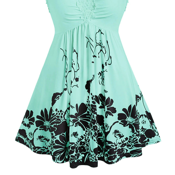 Plus Size Teal  Floral Print Lace Long Tank Top  - 14 - 24W
