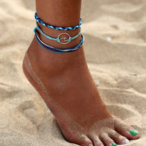 Blue Wave 3-Piece Anklet Set