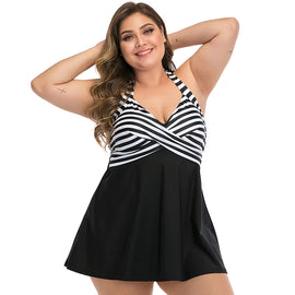 Style 400 Plus Size Striped Top One Piece :: 2 Colors