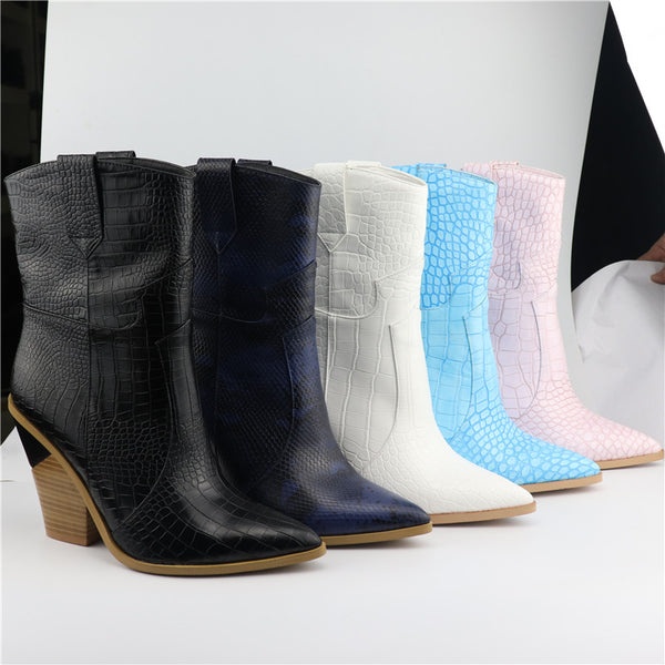 Style 807 Stacked Heel Leather Women's Western Boots :: Available in 5 Colors :: BEST SELLER!