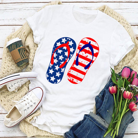 Stars & Stripes Flip Flops Women's T-Shirt