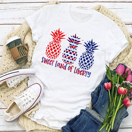 Sweet Land of Liberty Pineapple Trio Women's T-Shirt
