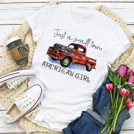 Red Pickup Small Town Patriot Girl  Women's T-Shirt - BEST Seller!