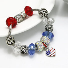 """America the Beautiful"" Handmade European Charm Bracelet"