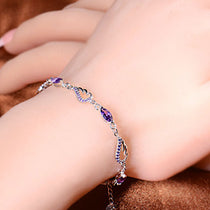 Sterling Silver & Amethyst Angel Wings Bracelet