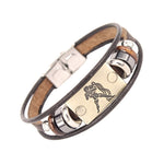 Men's Hand Crafted Genuine Leather Horoscope Bracelets