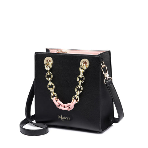 The Audrey Black & Gold Chain Luxury Winter Tote