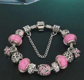 """Breast Cancer Awareness Ribbon"" Handmade European Charm Bracelet"