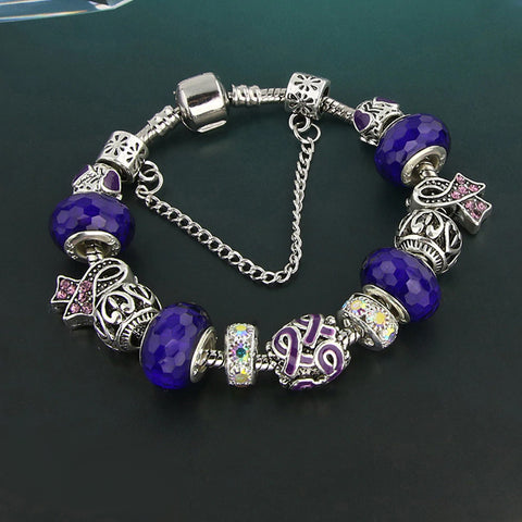 """Awareness Ribbons"" Handmade European Charm Bracelet - Available in 6- Colors"