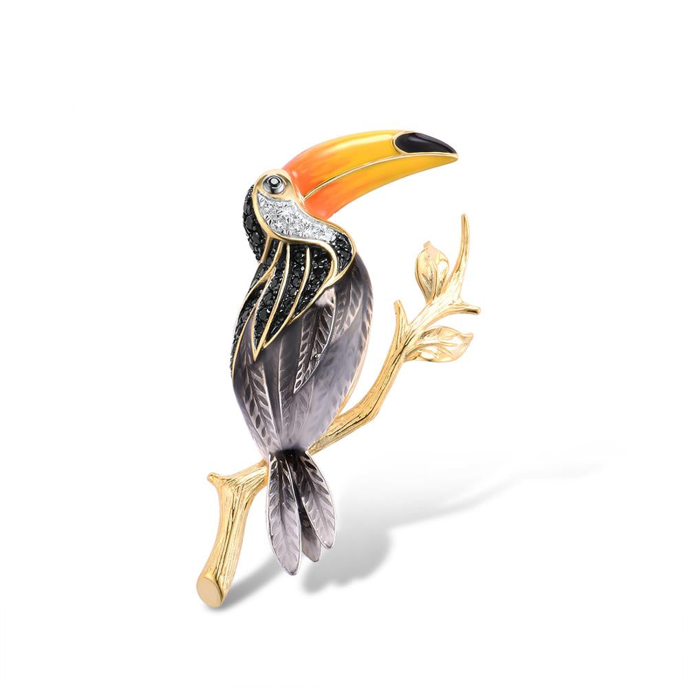 Hand Crafted Toucan II Brooch w/Swarovski Crystals