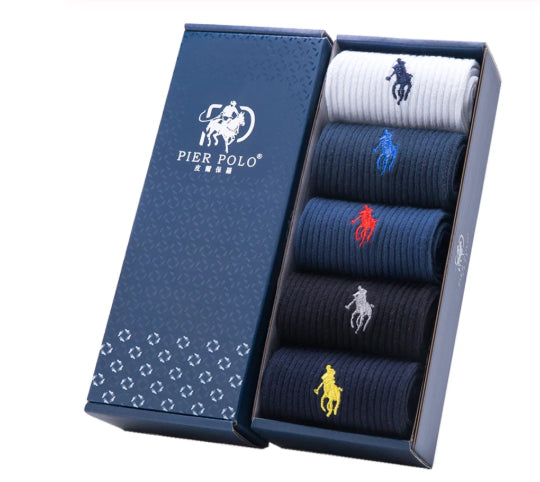 Men's Pier Polo Combed Cotton Dress Socks - 5 Pair Set