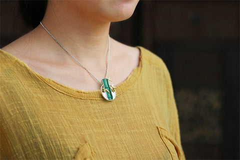 Handcrafted Chalcedony Bamboo Leaves Necklace