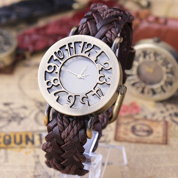 Antique Style Large Number Fashion Watch  :: Available in 2 Colors