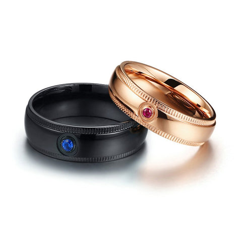 Black & Gold Couples Ring Set