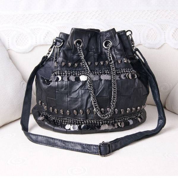 Sheepskin Leather Gothic Skull Bucket Bag