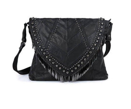 Genuine Leather Black Tassel Shoulder Bag :: Available in 2 Sizes