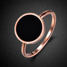 Black Moon Gold Plated Stainless Ring