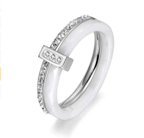 Double Layers White Ceramic Silver  Titanium Pave Band - BEST SELLER!