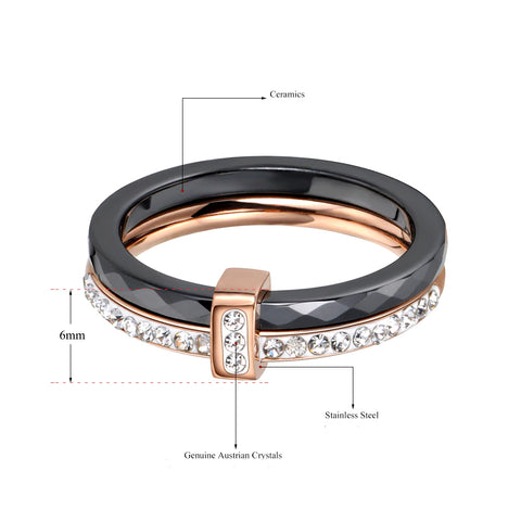 Double Layers Black Ceramic Titanium Crystal Band - BEST SELLER!